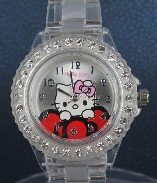 Hello kitty transparent band crystal quartz wrist watch