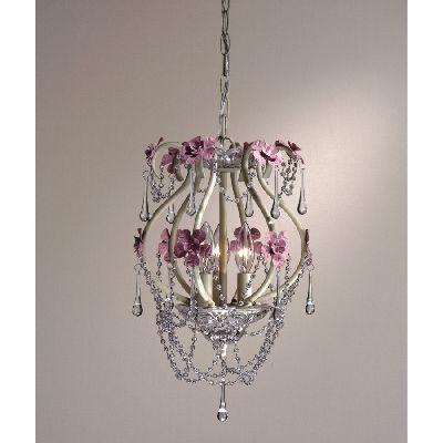 NEW 3 Light Girls Floral Mini Pendant Lighting Fixture, White, Pink