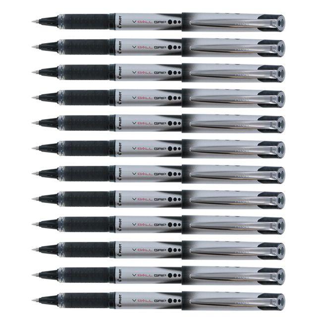 Pilot VBall Grip Rollerball Pens, Blue or Black, Fine Point, Pack of
