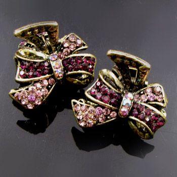 SHIPPING 2 antiqued rhinestone crystal bow tie hair claw clip