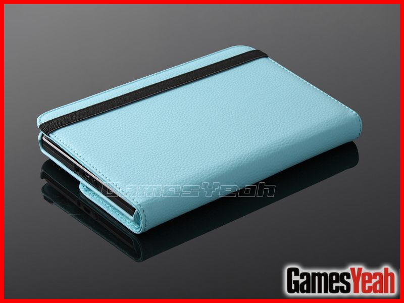 Lit Blue Kindle Fire PU leather Case Cover/Car Charger/USB Cable