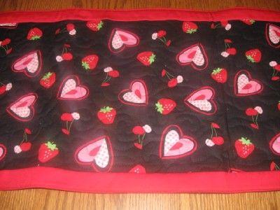 Handmade Table Runner Valentines Day Hearts strawberries cherries lips